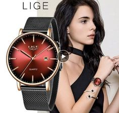 Beautiful watch , fashion red style Simple Watches, Cool Watches, Watches For Men, Women's Watches, Stylish Watches, Smartwatch, Fashion Casual, Womens Fashion, Bracelets Fins