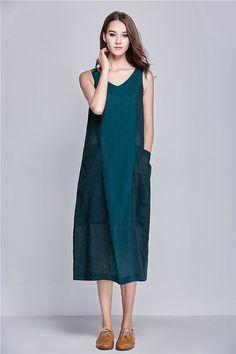 Linen Sundress in Contrast Green / Sleeveless от camelliatune