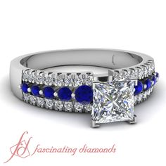 Princess Cut and Round Diamonds & Blue Sapphire 14K White Gold Side Stone Engagement Ring in Floating Prong || Triple Row Ring