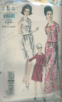 An original ca. 1960's Vogue Pattern 6779.  Semi-fitted, two-piece dress in long or street lengths has a high, wide neckline with roll collar; three-quarter length sleeves, short sleeves or is sleeveless.  A-line skirt is slightly gathered on to a camisole.