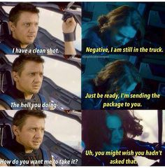 Jeremy Renner, Hawkeye, Clint Barton, Scarjo, Black Widow, Nat in Age Of Ultron