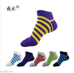 BD Stripe Cotton Short Tube Men Socks Absorb Sweat Sports Five Fingers Socks
