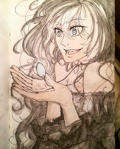 Magic oc own_character Verena pendant magical_pendant crazy_a_bit black_hair blue_eyes black_clothes anime manga dwa drawing style