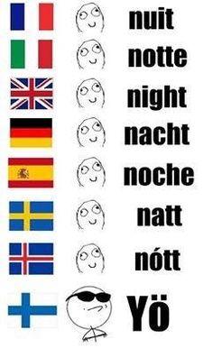 Because Finnish is not an Indoeuropean language, just like Hungarian. Finnish Memes, Learn Finnish, Rage Comic, Finnish Language, Funny Jokes, Hilarious, Clean Memes, Learn A New Language, Funny Comics