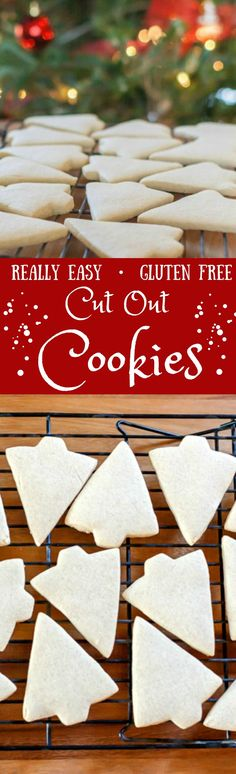Perfect Gluten Free Cut Out Cookies! If you need Royal Icing to decorate them with, click through to my blog to find my TWO INGREDIENT icing recipe linked in the post!