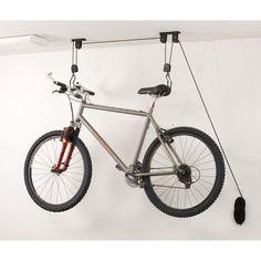 Ceiling bike rack can make your garage to have better organization. You can do it yourself in how to build bike storage in your garage ceiling. Rack Bike, Indoor Bike Rack, Indoor Bike Storage, Best Bike Rack, Bike Hooks, Bike Hanger, Overhead Storage, Vertical Storage, Bike Storage Garage Diy