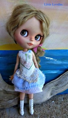 BLYTHE DOLL Dress OOAK Vintage linen and by LittleLovelieShop
