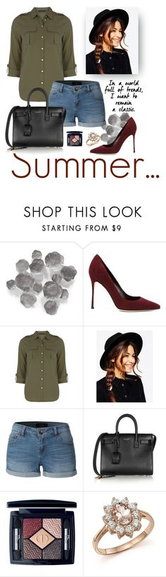 """Summer..."" by hariet2102 ❤ liked on Polyvore featuring Palecek, Sergio Rossi, Dorothy Perkins, ASOS, LE3NO, Yves Saint Laurent, Christian Dior and Bloomingdale's"