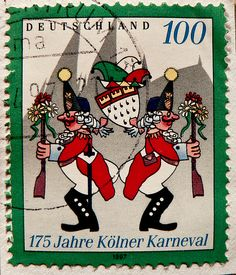 great stamp Germany 100 pf. carneval Kölner Karneval 175th anniversary
