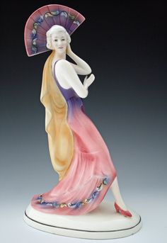 Katzhutte Fan Dancer | Art Deco Figurines | Desired Antiques & Collectables