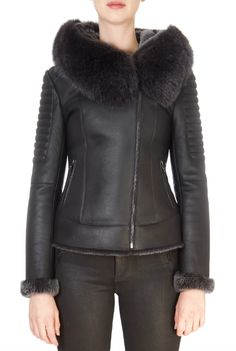 This is the stunning 'Betta' Black Biker Sheepskin Coat from our friends at Giovanni! SHOP NOW! Black Faux Fur Coat, Sheepskin Coat, Betta, Marni, Taupe, Biker, Shop Now, Winter Jackets, Clothing