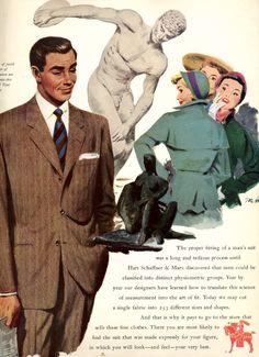 1947 suit men color illustration brown wool blue aqua green vintage fashion ad 40s 50s