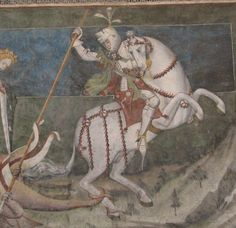 Fenis Castle (Piedmont, Italy), attributed to the workshop of Giacomo Jaquerio, official painter of the court of Savoy, for the duke Amedeus VIII Extremly rare example of mix between bacinet and armet ca. 1416