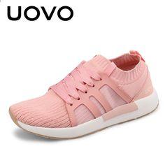 Scarpe donna 2018 UOVO New Design Summer Mesh traspirante Rosa e bianco Scarpe  da corsa Donna 83ed242149d