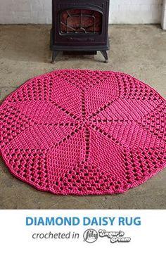 Diamond Daisy Crochet Rug - FREE Pattern