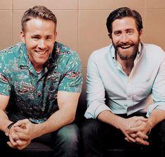 Jake with Ryan Reynolds Jake Gyllenhaal, Steve Rogers, Tony Stark, Ryan Reynolds Deadpool, Black Widow Winter Soldier, Clint Barton, Raining Men, Beard No Mustache, Bearded Men