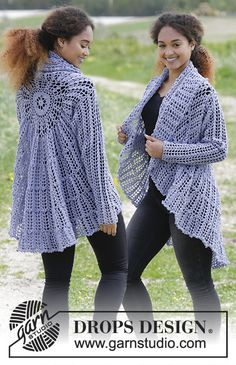 Crochet jacket worked in a circle with fan pattern. Size: S - XXXL Piece is crocheted in DROPS Baby Merino. Free pattern by DROPS Design.