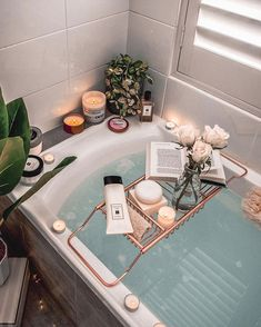 Bath time is essential for women. We can relax and just let our hair down for - Best Decoration Bathtub Caddy, Bathtub Decor, Bathtub Tray, Bath Trays, Bathroom Candles, Deep Bathtub, Bath Candles, Bathtub Shower, Decoration Inspiration
