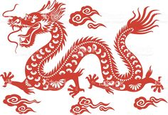 Vector illustration of a red paper cut Chinese Dragon, with a hint of. - Tattoo Thinks Chinese Dragon Drawing, Chinese Dragon Tattoos, Chinese Art, Red Chinese Dragon, Japanese Dragon, Chinese Zodiac, Dragon Tatoo, Paper Cutting, Design Dragon