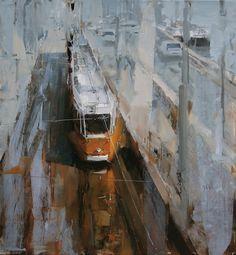 Tram Stop in the Morning. Oil on linen, 21.6 x 23.6 in. Tibor Nagy