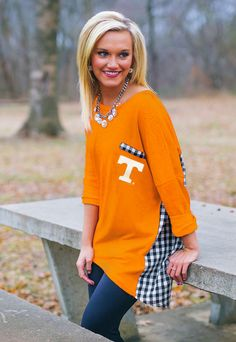 TULSA GINGHAM PIKO TOP Perfect for UT game day