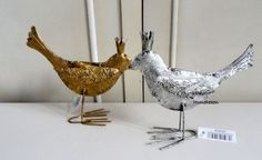 Metal Bird Standing Ornament Standing Set 2 Gold Silver  Shabby Chic Farmhouse…