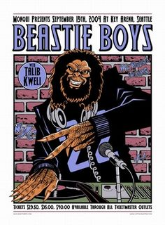 rock concert posters | The Beastie Boys Concert Poster by Justin Hampton | Rock Posters