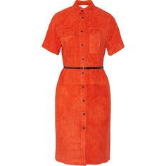 Victoria, Victoria Beckham - Suede Shirt Dress ($648) ❤ liked on Polyvore featuring dresses, victoria beckham, bright orange, button shirt dress, t-shirt dresses, bright orange dress, red suede dress and button-down shirt dresses