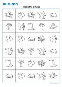 Fall worksheet. Match the pictures. Preschool, Kindergarten and First grade worksheets: lookbookeducation.com First Grade Worksheets, Printable Preschool Worksheets, Worksheets For Kids, Kindergarten Worksheets, Autumn Activities For Kids, Fall Preschool, Preschool Learning Activities, Preschool Kindergarten, Preschool Cutting Practice