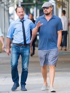 Busy star: The actor was spotted on Tuesday with director Fisher Stevens in New York taking a break from the upcoming climate change documentary Before The Flood