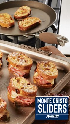 Monte Cristo Sliders Monte Cristo Sliders,Home for the Holidays HOLIDAY BRUNCH IDEA: The Anolon Advanced Home Crepe Pan doubles as a compact griddle making it the perfect vessel to toast little Monte Cristo Sliders! Bagel Bar, Snacks Saludables, Birthday Brunch, Cooking Recipes, Healthy Recipes, Clean Eating Snacks, Appetizer Recipes, Brunch Appetizers, Brunch Foods