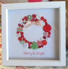 Brand New Christmas Garland Button Picture A beautiful button Christmas Garland with Happy Christmas Ribbon in Red with nuances of Green. The print at the bottom reads Merry & Bright and the garland consists of red, sparkly and a few green christmas buttons. A beautiful and unique gift, all items are completely unique, so although the one you order will look similar to this the buttons & ribbon will not be exactly the same. This item can be personalised at an extra cost, please contact me…