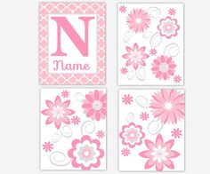 Hey, I found this really awesome Etsy listing at https://www.etsy.com/listing/182996266/baby-girl-nursery-pink-gray-grey-flower