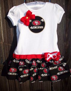 NFL San Francisco 49ers Football Ruffle by FootballDressandBows, $28.00 !!   Miss Zolei needs this !!!
