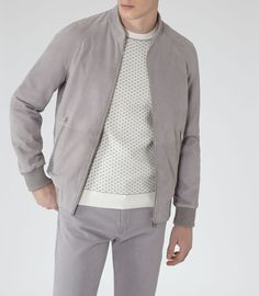 Mens Grey Suede Bomber Jacket - Reiss Toulon