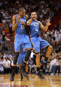Kevin Durant Kevin Durant #35 and Russell Westbrook #0 of the Oklahoma City Thunder celebrate after a 3 pointer during a game against the Miami Heat at American Airlines Arena on March 16, 2011 in Miami, Florida. NOTE TO USER: User expressly acknowledges and agrees that, by downloading and/or using this Photograph, User is consenting to the terms and conditions of the Getty Images License Agreement.