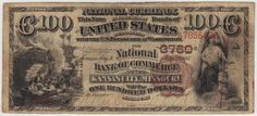 I love the layout on these notes. It spells out the full city and state name in one block. This note has about 15 pinholes and a tiny LR margin split.