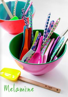  bright melamine spoons.. Great to use and add interest to decor and table!