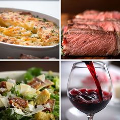 Featuring Bacon Avocado Caesar Salad, Scalloped Potatoes and Garlic Butter Steak