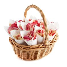 Eco Friendly Confetti for your wedding day - Confetti Cone Basket with Bright Pink Mixed Rose Petal Confetti from The Real Flower petal Confetti Company.  #confetti #weddingconfetti #ecofriendlyconfetti #biodegradableconfetti #naturalconfetti