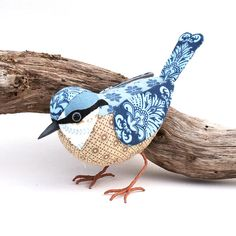 Fabric Bird NUTHATCH Made to Order by TheCottonPotter on Etsy