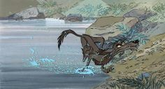 Disney - The sword in the stone - Key set up of the wolf (original cel and background) Comic Art