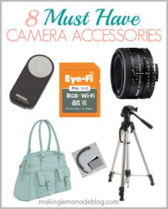 **8 Must Have Camera Accessories-- if you have a DSLR camera or are a blogger, here's 8 accessories that'll make your life easier and your photos even more beautiful! #photography #DSLR #blogging via www.makinglemonadeblog.com