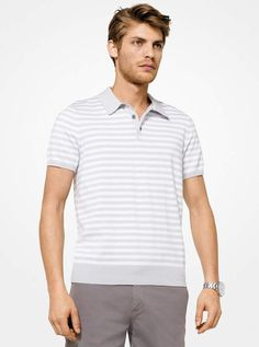 21031047a6f4 Michael Kors Striped Cotton Polo Shirt Polo Shirts