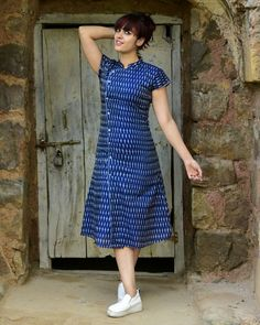 Buy The Secret Label Blue Cotton Printed Dress online in India at best price. Shop online Navy asymmetrical ikat dress by Desi Doree Navy asymmetrical dress with white ikat motif Kurta Designs Women, Kurti Neck Designs, Salwar Designs, Blouse Designs, Churidhar Designs, Kalamkari Dresses, Ikkat Dresses, Frock For Women, Frock Dress