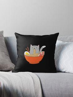 'Cat in Ramen Bowl - Kawaii' Throw Pillow by Kerstin Ebner Cat Lover Gifts, Cat Gifts, Cat Lovers, Ramen Bowl, Buy A Cat, Designer Throw Pillows, Pillowcases, Pillow Design, Fill