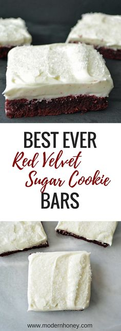 Rich Red Velvet Cookie Bar that is a soft cookie topped with sweetened cream cheese frosting. Best Dessert Recipes, Easy Desserts, Sweet Recipes, Delicious Desserts, Bar Recipes, Yummy Snacks, Yummy Food, Red Velvet Cookies, Velvet Cake