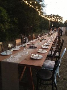 Vintage Wedding Table Setting - love the mismatched chairs