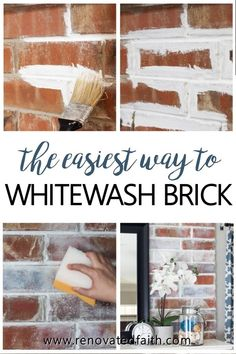 Brick Discover How to Whitewash a Brick Fireplace (Faux German Smear with Paint!) Give your outdated fireplace a quick makeover with this faux german smear with paint. Here I show you a fool-proof way to whitewash a brick fireplace! White Wash Brick Fireplace, Painted Brick Fireplaces, Paint Fireplace, Faux Fireplace, Painted Brick Walls, Fireplace Whitewash, Brick Accent Walls, Faux Brick Walls, Farmhouse Fireplace
