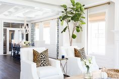 Leopard Pillows and Fiddle Leaf Fig Tree __ Studio McGee. Coastal Living Rooms, Home And Living, Living Spaces, Small Living, Coastal Cottage, Coastal Homes, Coastal Decor, Studio Mcgee, Living Room Furniture